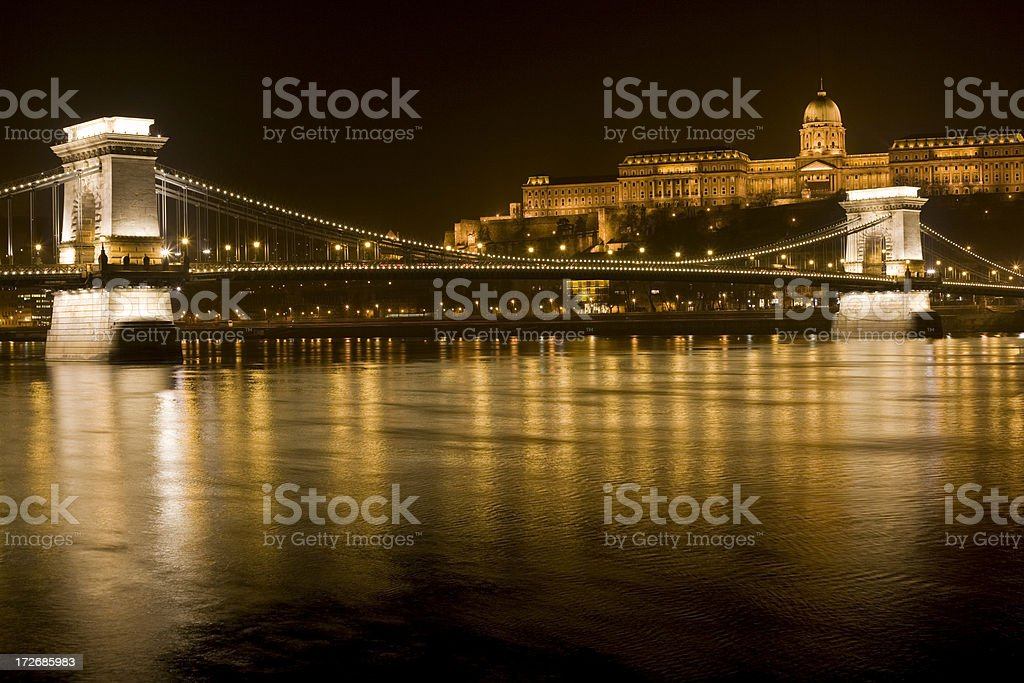 Chain Bridge, Royal Palace and Danube in Budapest royalty-free stock photo