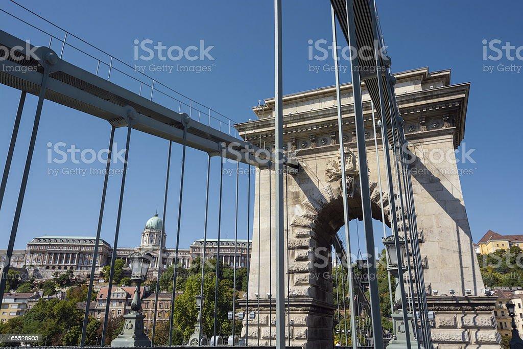 Chain Bridge spanning Danube in Budapest, Hungary royalty-free stock photo