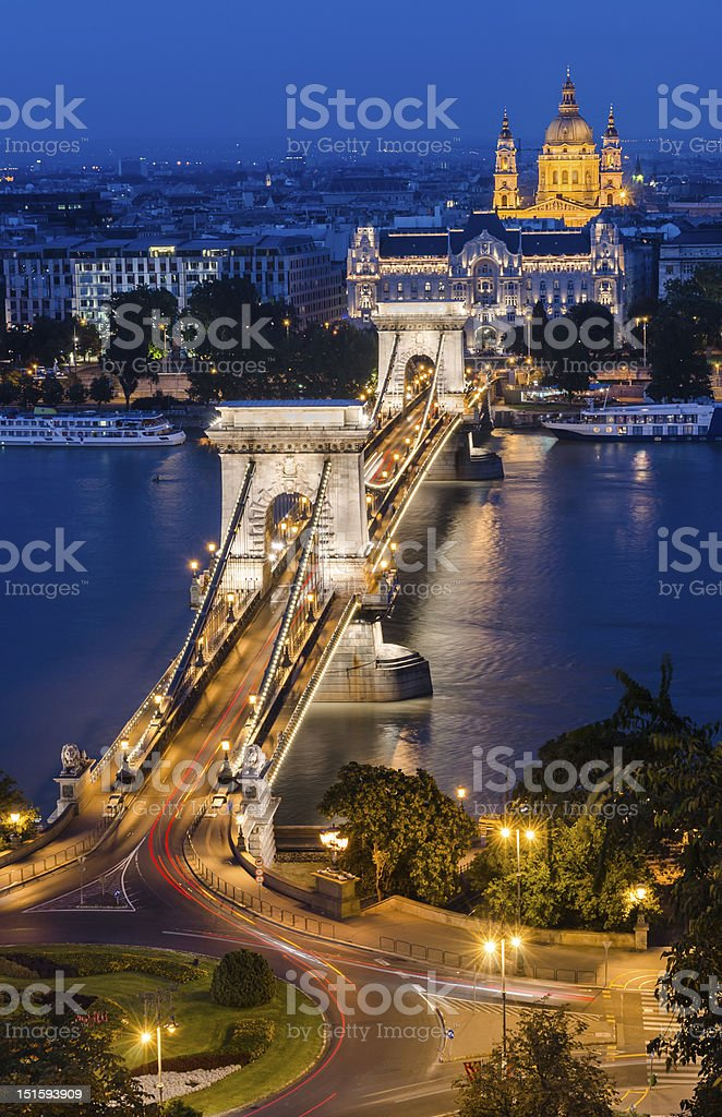 Chain Bridge, St. Michael cathedral and Danube river, Budapest royalty-free stock photo