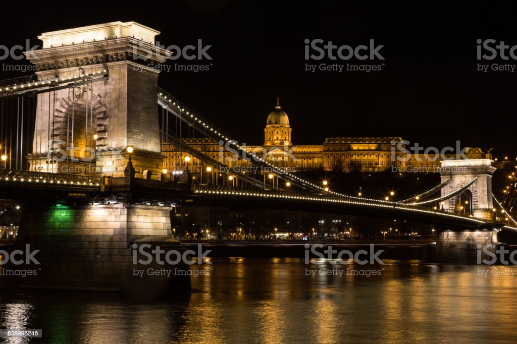 Chain Bridge with Buda Castle Hungary Budapest at night stock photo