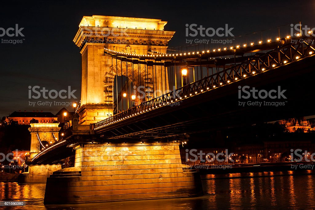 Chain Bridge  with Danube in Budapest by night stock photo