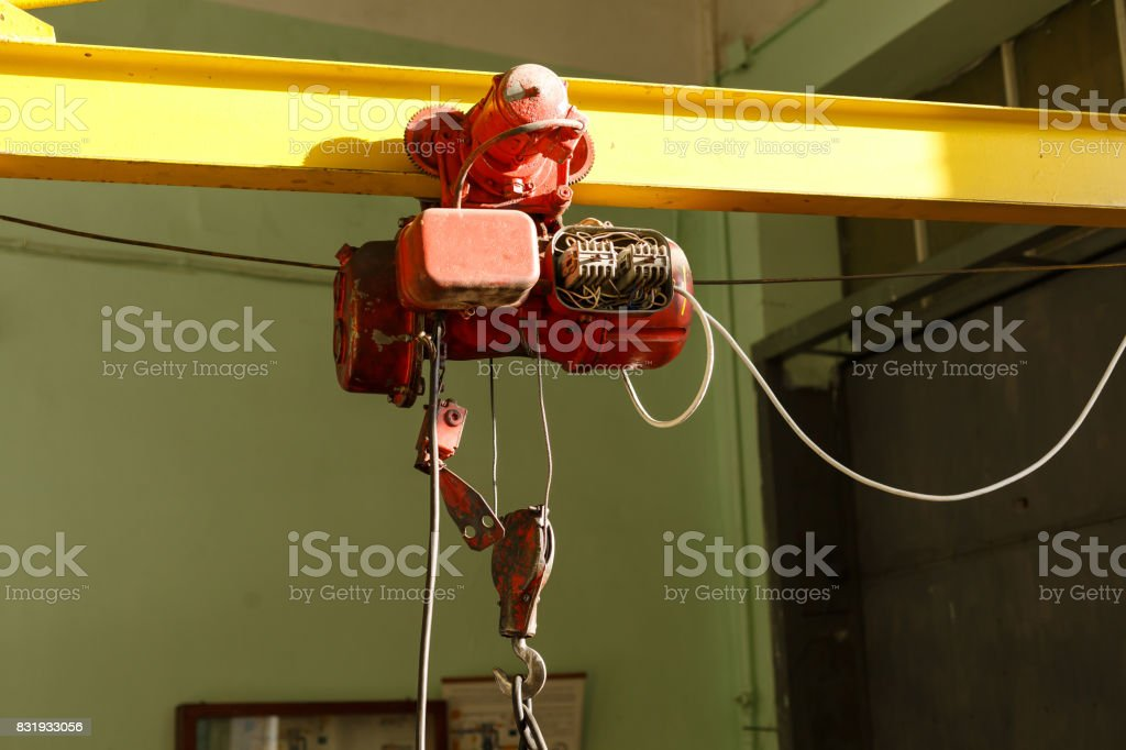 chain hoist electric  lift machine factory stock photo
