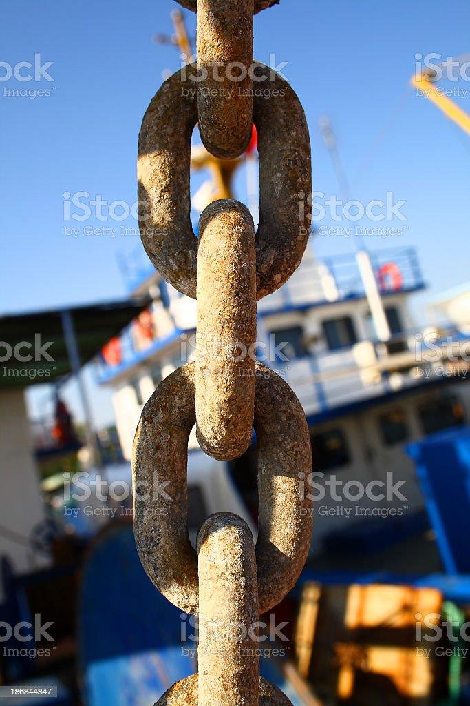 Chain in marina stock photo