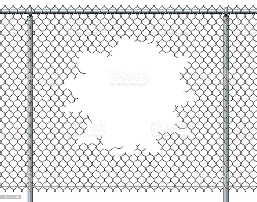 Chain Link Fence Hole stock photo