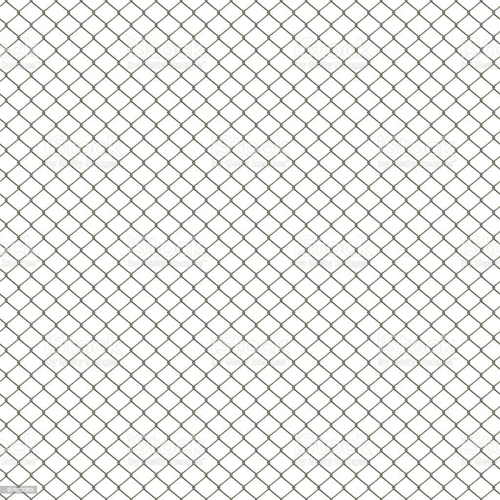 Chain link fence pattern on white background stock photo
