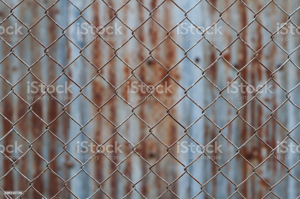 Chain link fence,Rusty wire fence stock photo
