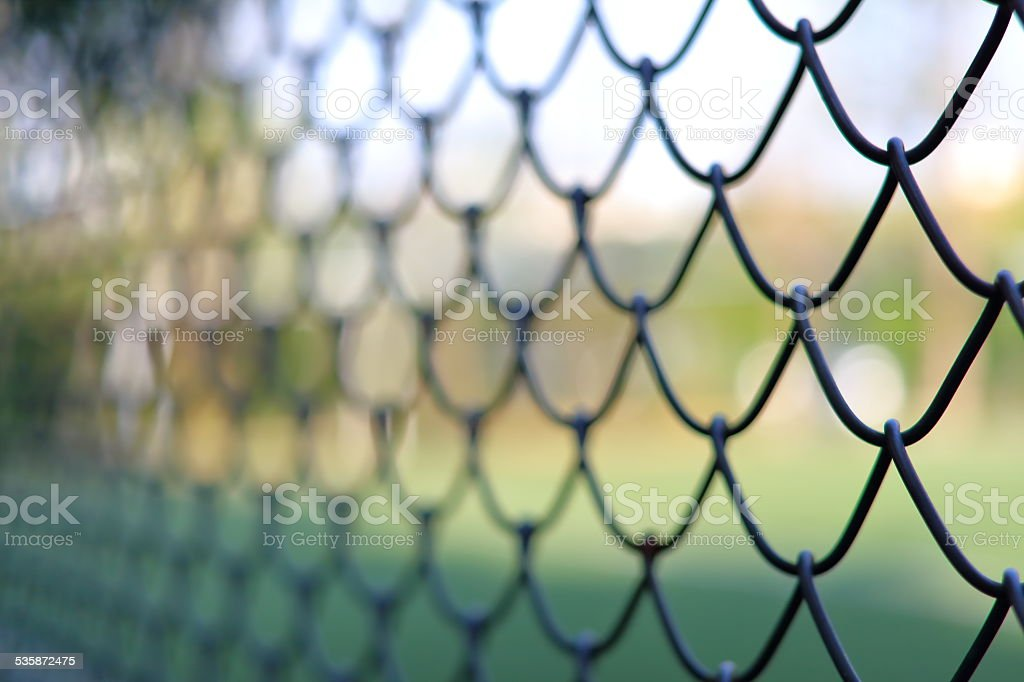 Chain link fencing Cyclone Fence stock photo