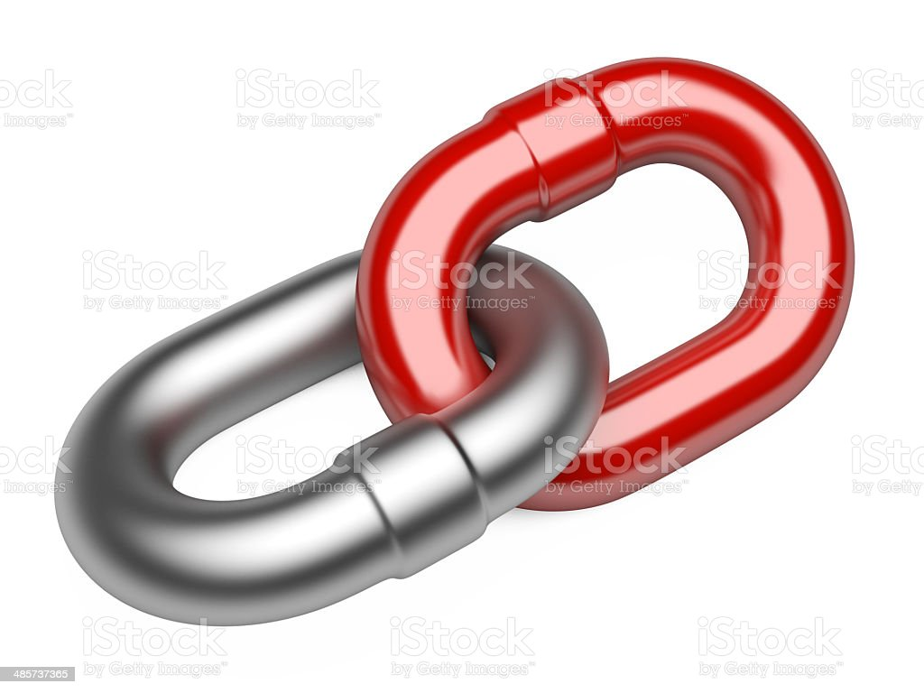 Chain link isolated on white background stock photo