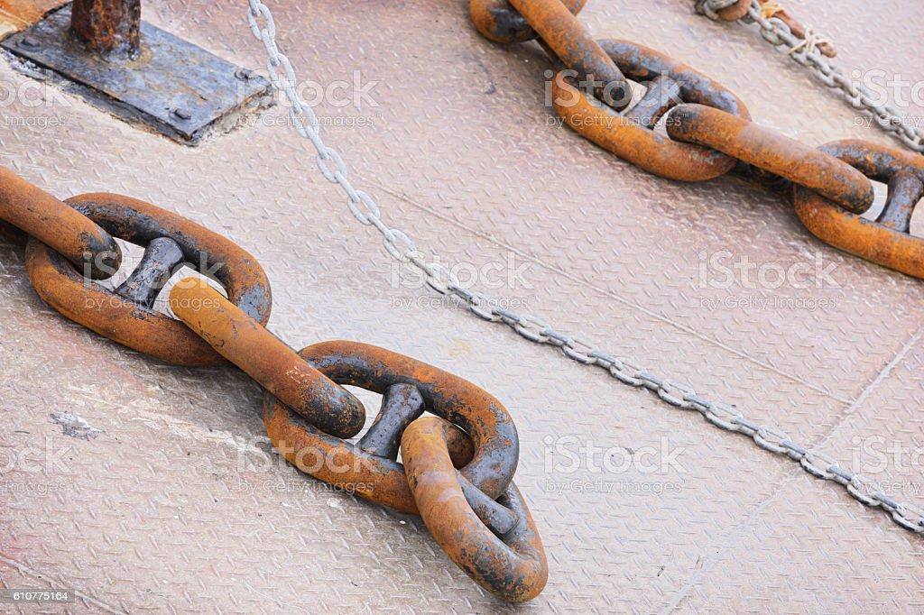 Chain Links Checkered Steel Deck Nautical Vessel stock photo