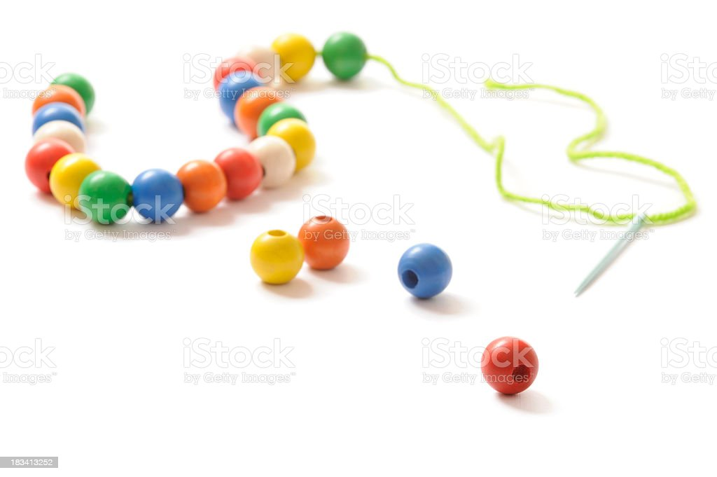 Chain made from wooden beads stock photo