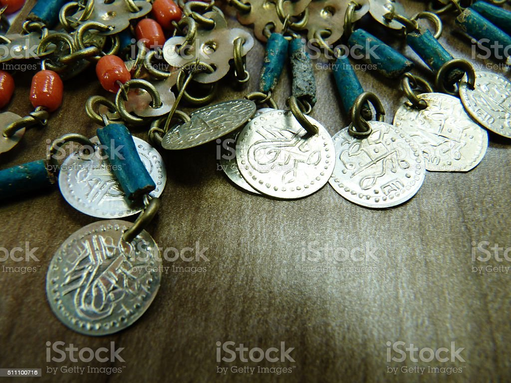 chain mail with beads arabic mesh waistcoat stock photo
