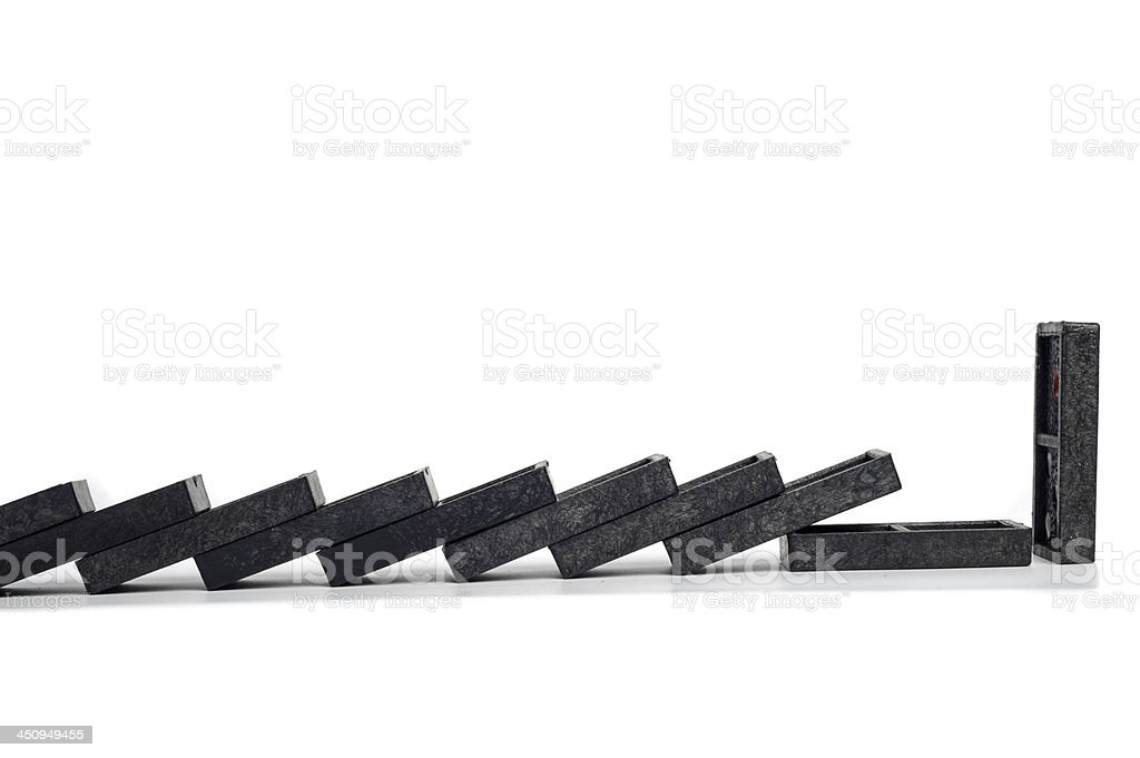 chain of domino stop isolated stock photo
