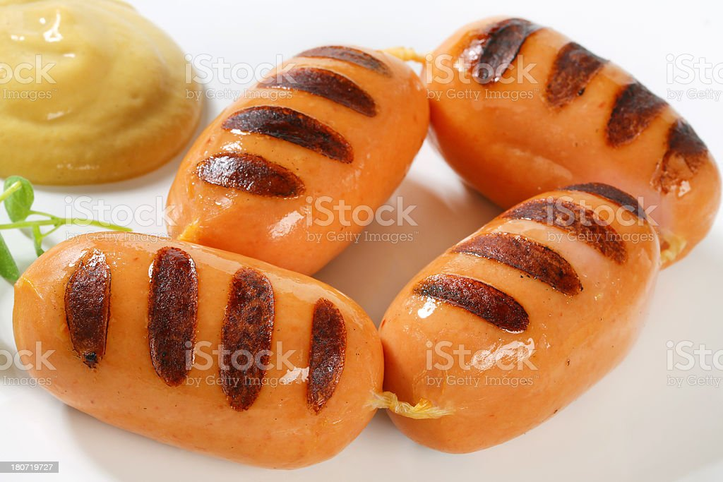 chain of grilled sausages royalty-free stock photo