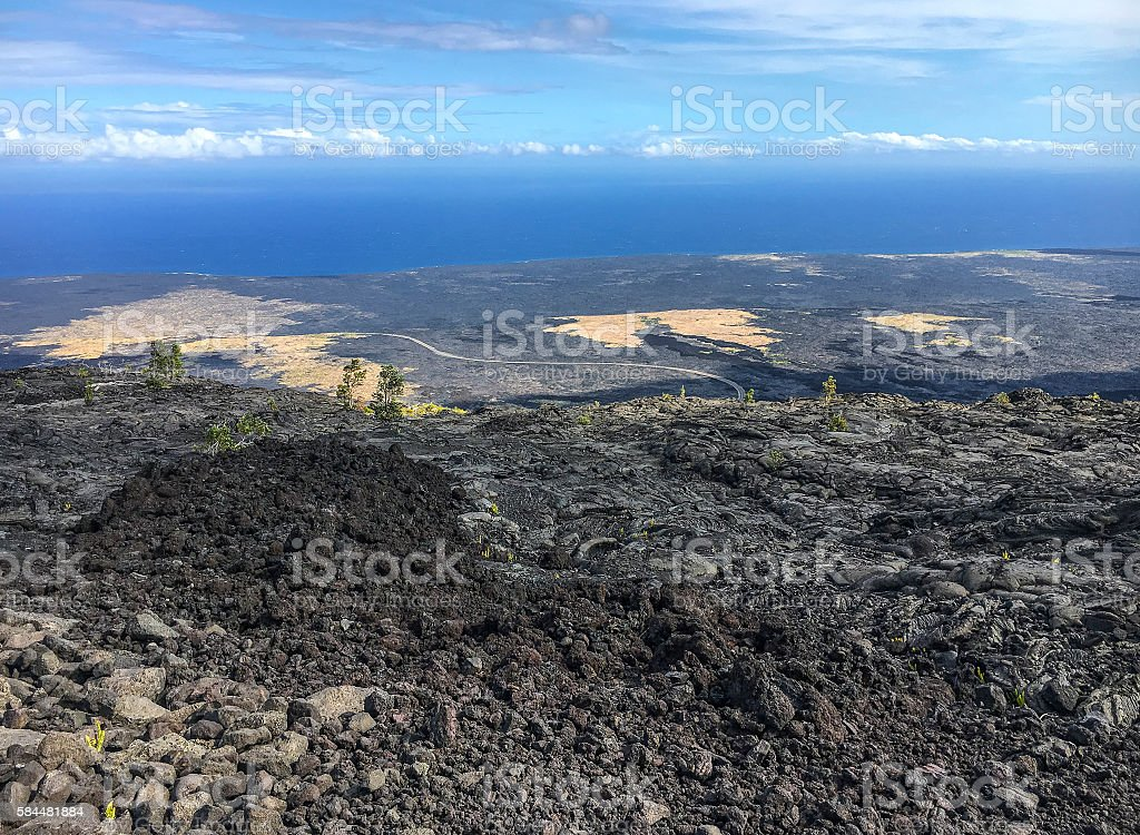 Chain of volcanos view stock photo