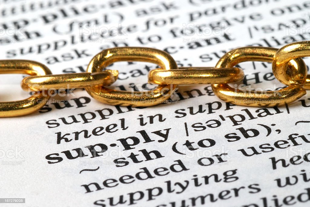 chain on supply word in dictionary stock photo