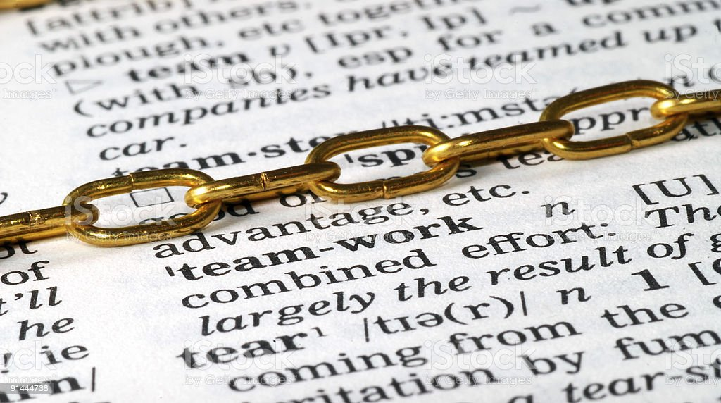 chain on teamwork definition in dictionary royalty-free stock photo