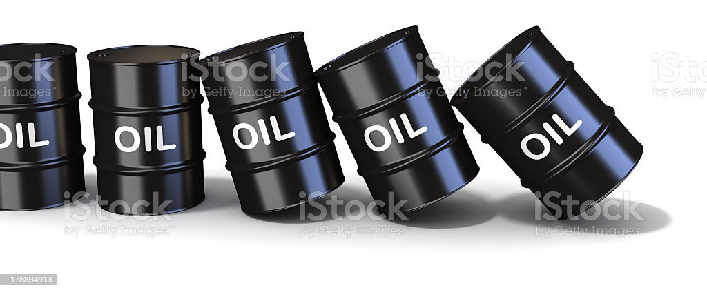 Chain reaction on oil market royalty-free stock photo