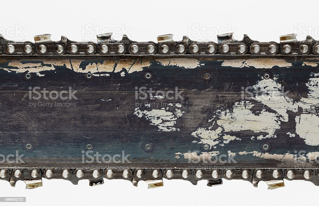 Chain saw blade close up stock photo