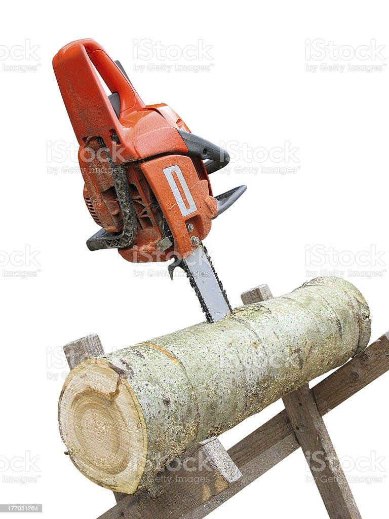 Carrossel-Serra de corte de log de madeira sobre branco foto de stock royalty-free