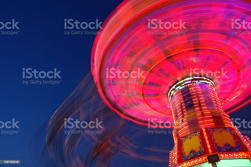 Chain Swing Ride at Night, Motion Blur royalty-free stock photo