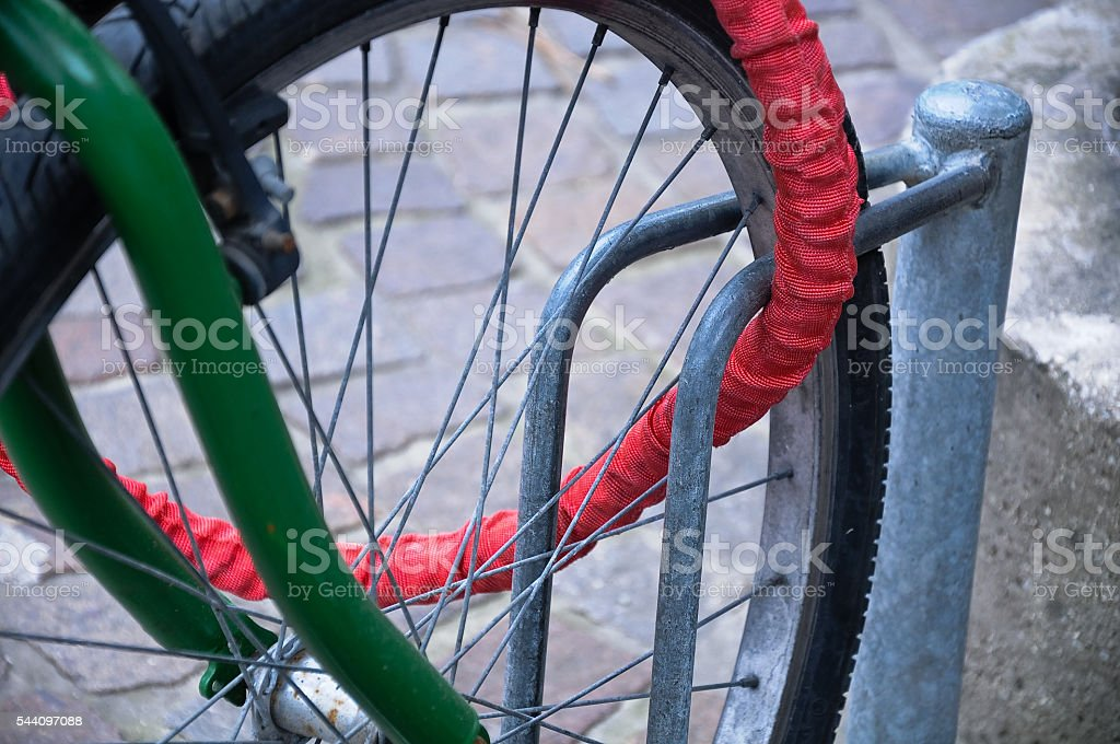 chain that serves to tie the bicycle stock photo