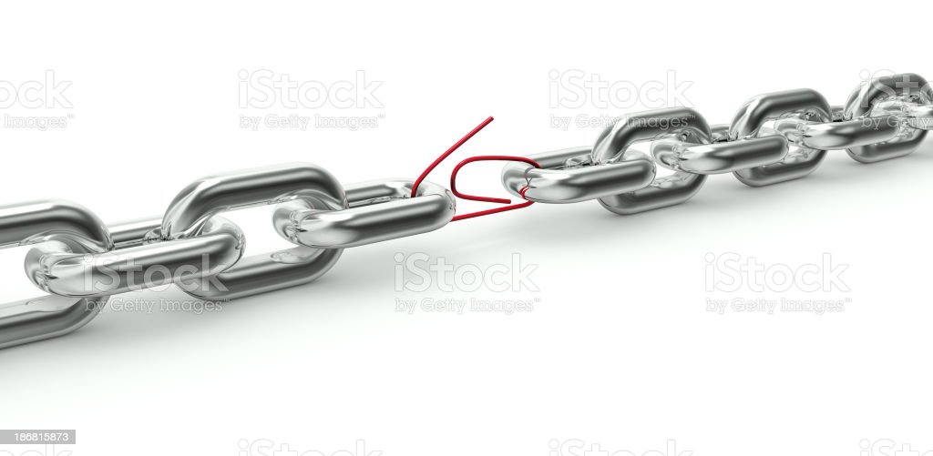 Chain with a weak link in a red paper clip royalty-free stock photo