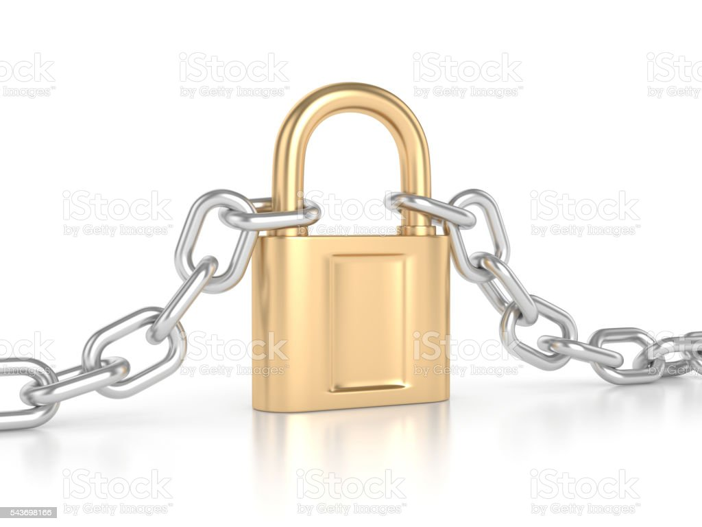 Chain with lock stock photo