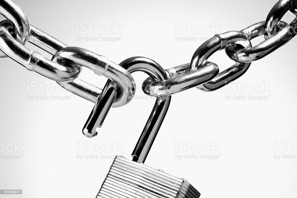 Chain with open padlock stock photo