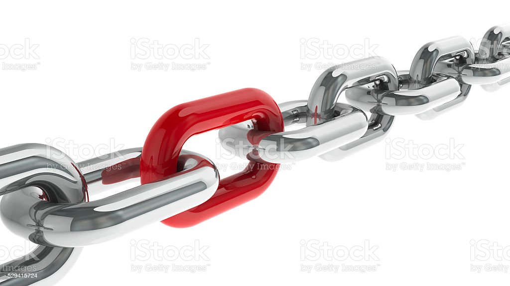 Chain with red link stock photo