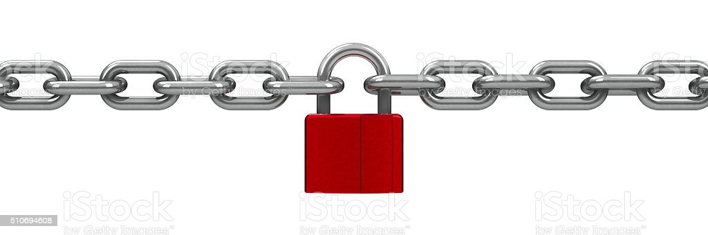 Chain with red lock stock photo