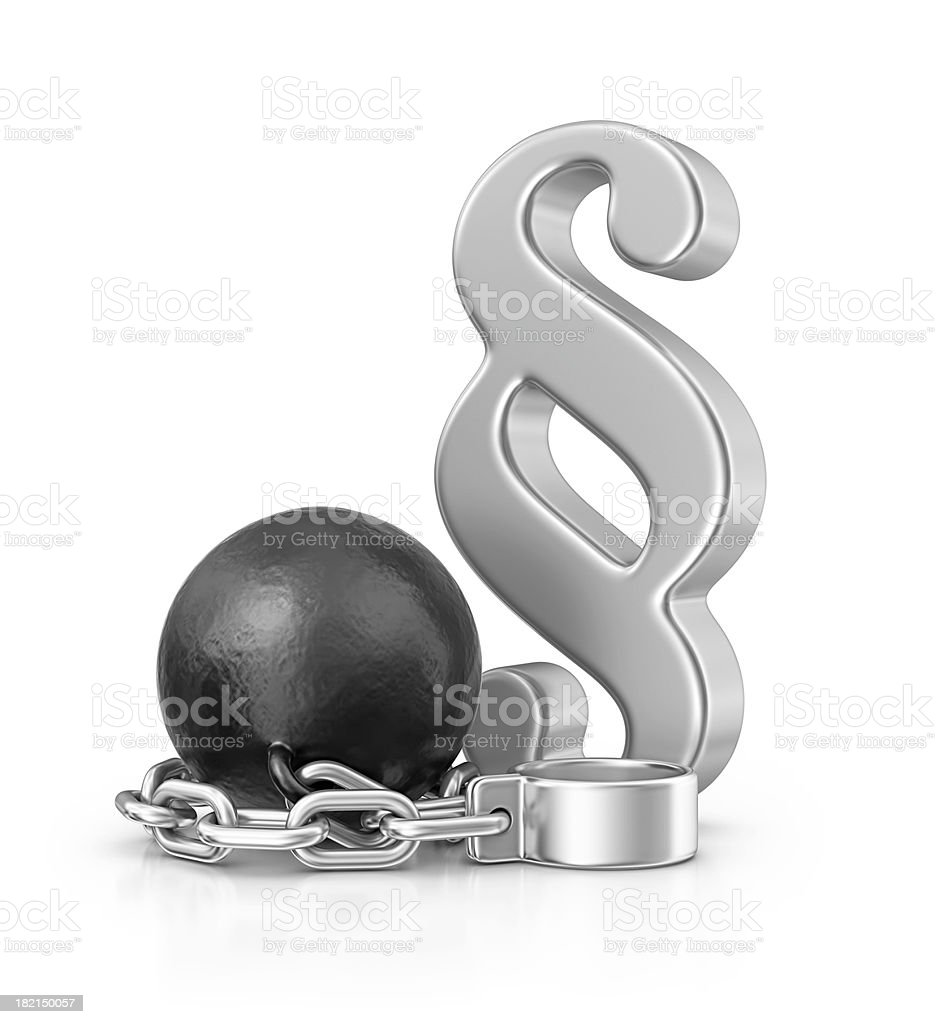 chainball and paragraph sign stock photo