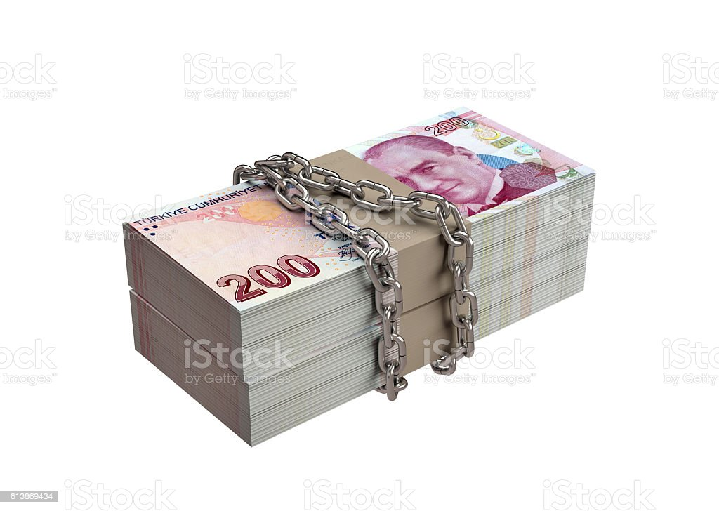Chained Banknotes. stock photo