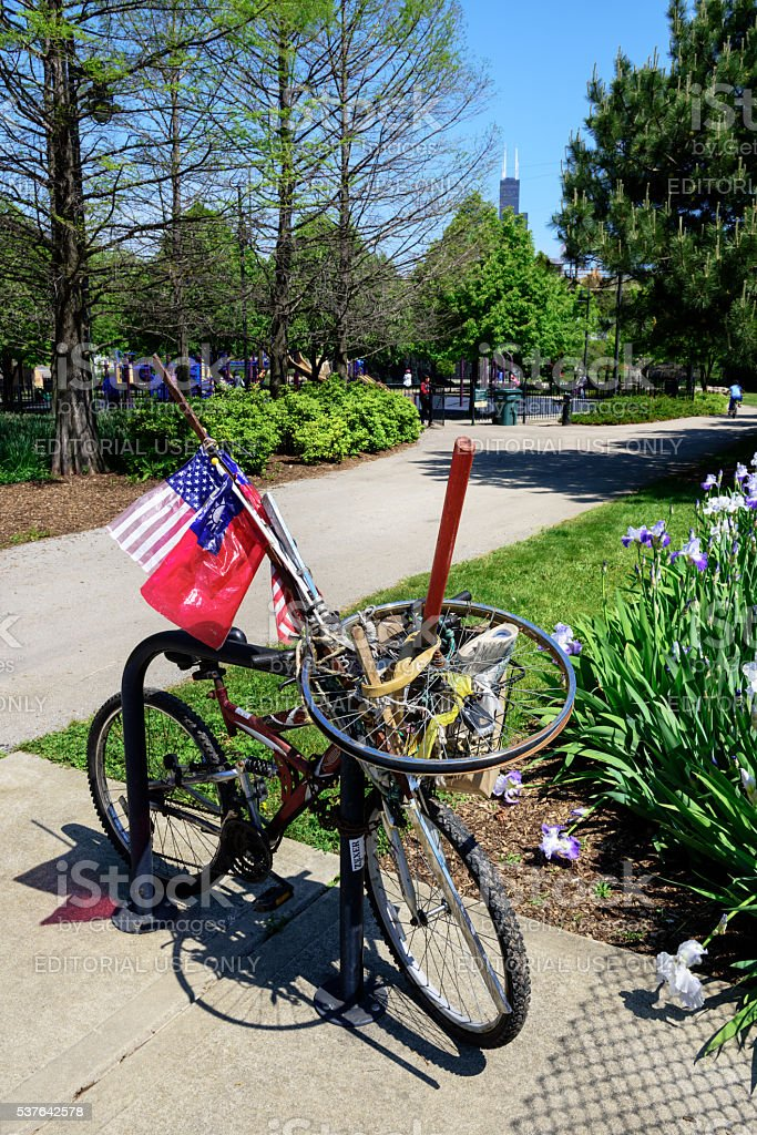 Chained bikes and flags, Chicago Chinatown park stock photo