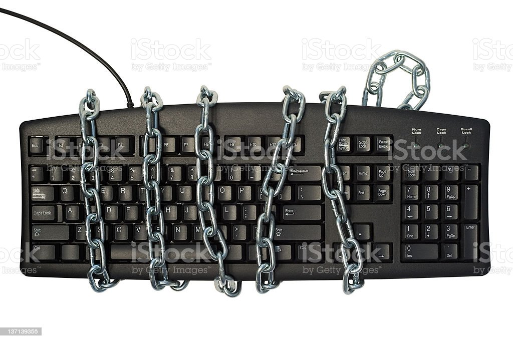 Chained computer stock photo