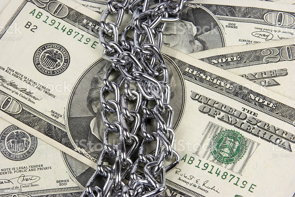 Chained Money stock photo