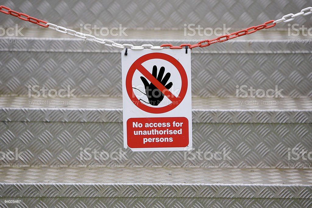 Chained off stairway with red and white no access sign stock photo