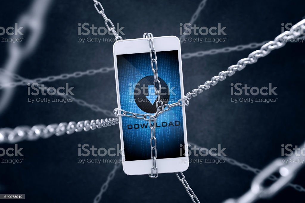 Chained smartphone with download symbol. Concept of secure downloading stock photo
