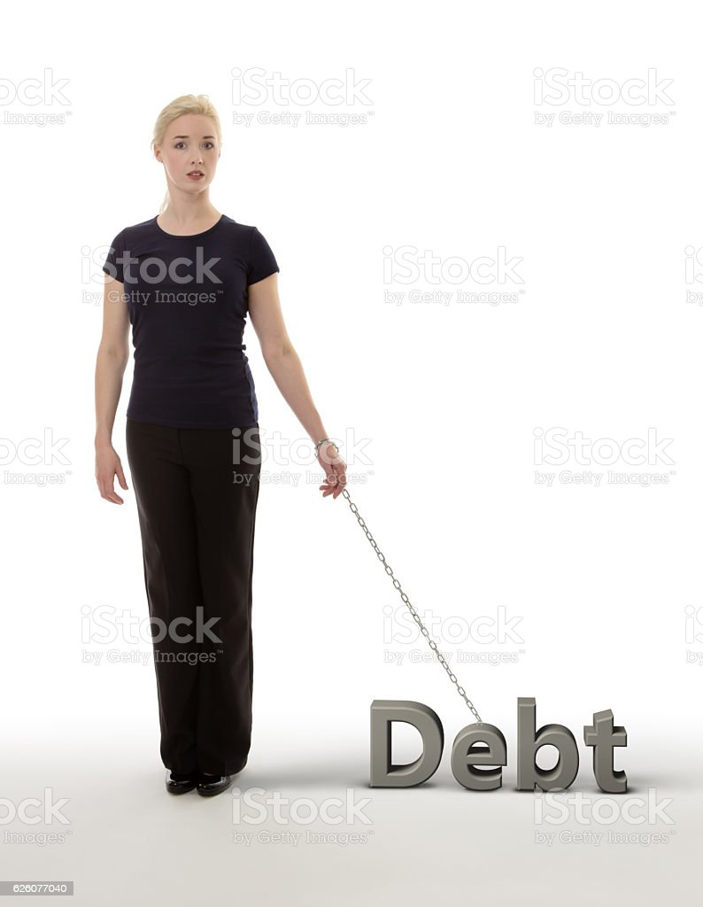 chained to debt stock photo