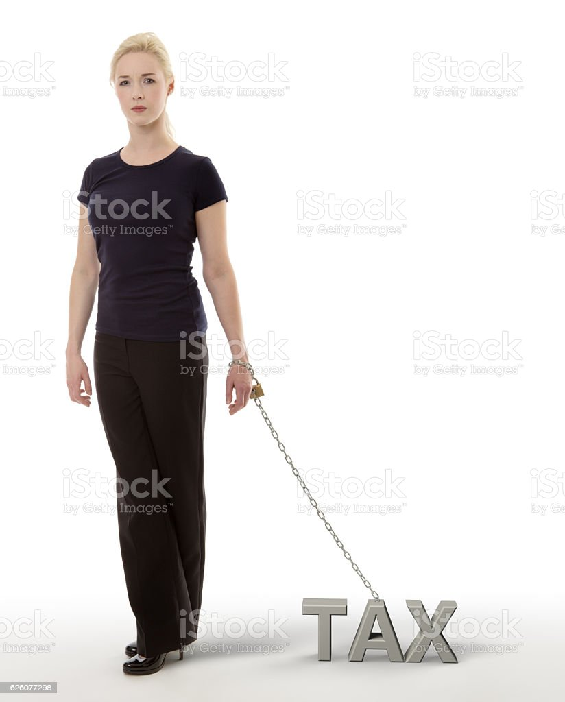 chained to taxs stock photo