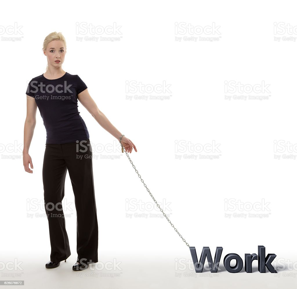 chained to work stock photo