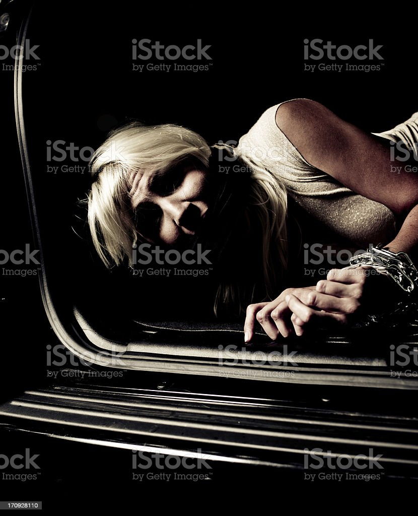 Chained woman stock photo