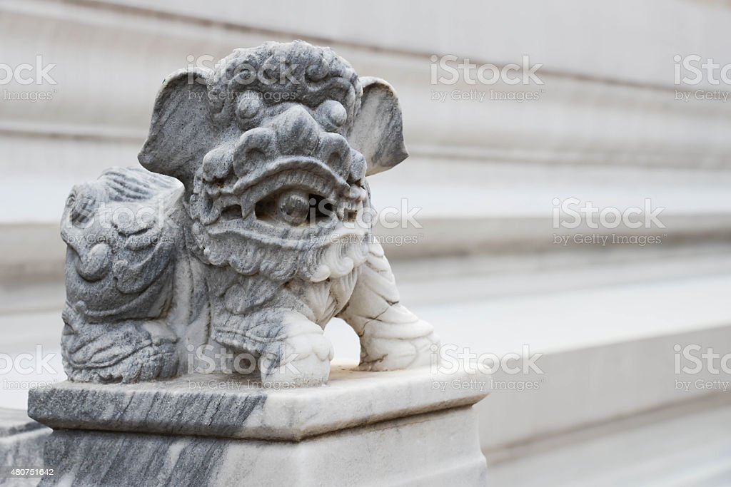 chainess doll lion decorated in a temple stock photo