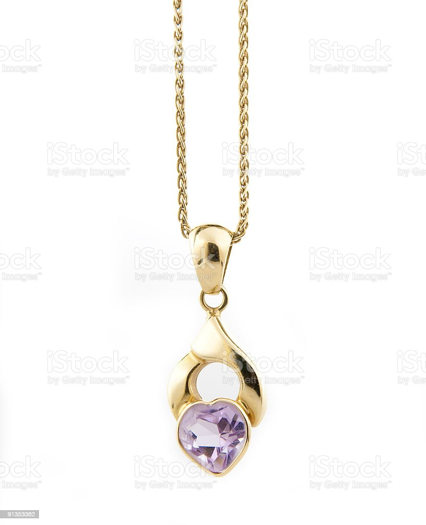 Chainlet with amethyst heart royalty-free stock photo