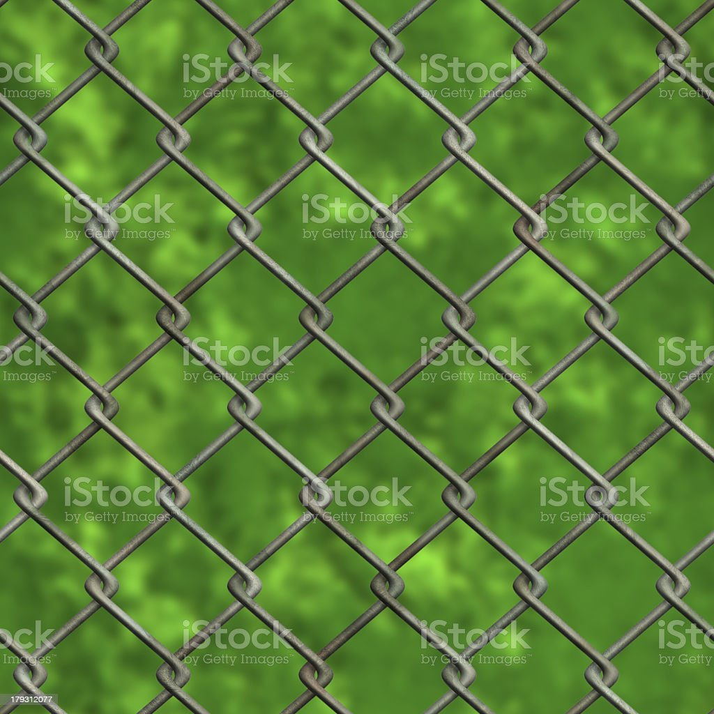 Chainlink fence and forest (Seamless texture) stock photo