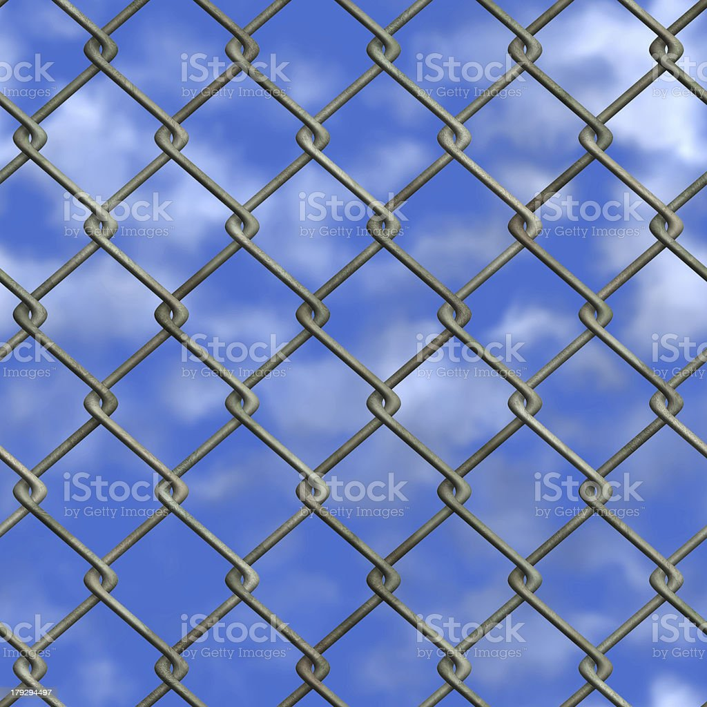 Chainlink fence and sky (Seamless texture) stock photo