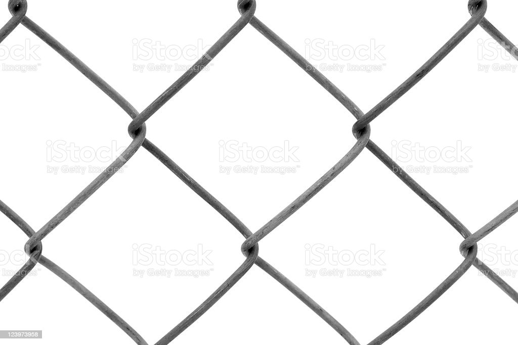 Chain-link fence isolated on white royalty-free stock photo