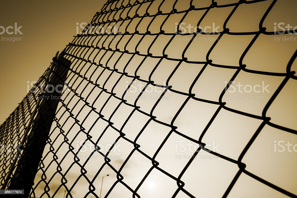 chain-link fence stock photo