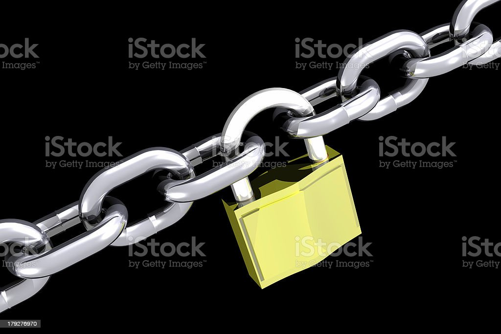 Chains and padlock (3D) stock photo