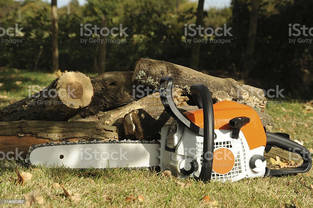 Chainsaw and Logs royalty-free stock photo