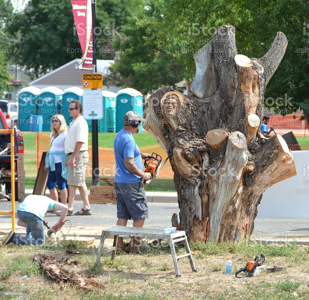 Chainsaw Carving Competition stock photo
